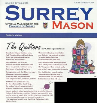 Stephen Davids poem the Quilters as published in Surrey Mason Magazine