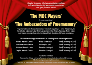 Stephen Davids' play The Ambassadors of Freemasonry. A list of performance dates and locations in England